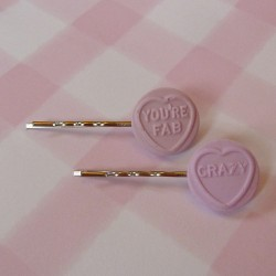 Love Heart pair of Hair Clips